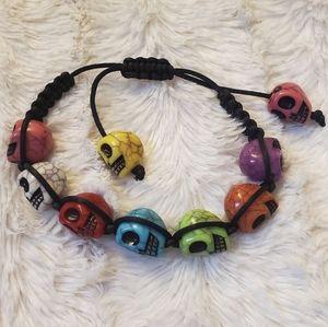 Rainbow Carved Skull Macrame Slide Bracelet